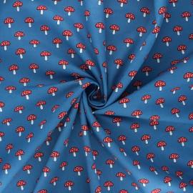 Tissu coton popeline Champignons - bleu marine x 10cm