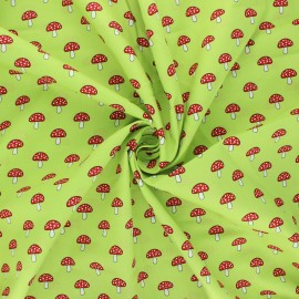 Poplin cotton fabric - light green Champignons x 10cm