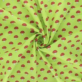 Tissu coton popeline Champignons - vert clair x 10cm