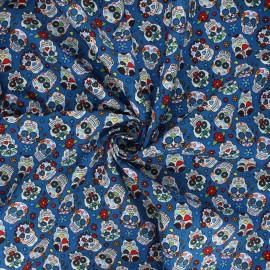 Tissu popeline de coton Calaveras - bleu x 10cm