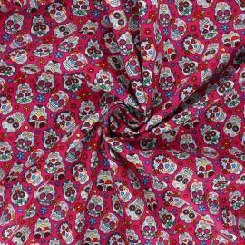 Tissu popeline de coton Calaveras - fuchsia x 10cm