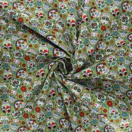 Poplin cotton fabric - green Calaveras x 10cm