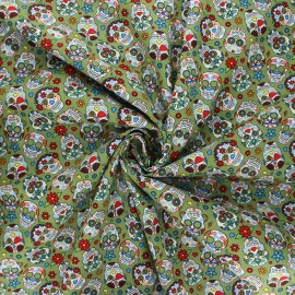 Tissu popeline de coton Calaveras - vert x 10cm