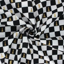 Tissu popeline de coton Chess board - noir x 10cm