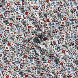 Poplin cotton fabric - white Calaveras x 10cm