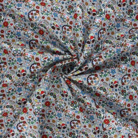 Poplin cotton fabric - grey Calaveras x 10cm