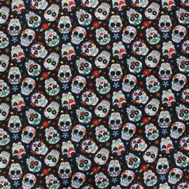 Tissu popeline de coton Calaveras - noir x 10cm