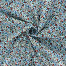 Poplin cotton fabric - sky blue Calaveras x 10cm