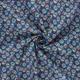 Tissu popeline de coton Mini calaveras - bleu x 10cm