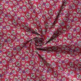 Tissu popeline de coton Mini calaveras - fuchsia x 10cm