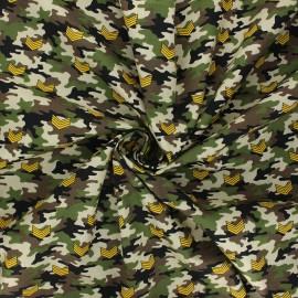 Tissu popeline de coton Military camo - kaki x 10cm
