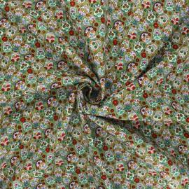 Tissu popeline de coton Mini calaveras - vert x 10cm