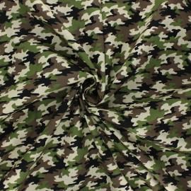 Poplin cotton fabric - khaki Little camo x 10cm