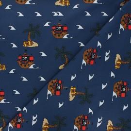 Printed jersey fabric - navy blue L'île au trésor x 10cm
