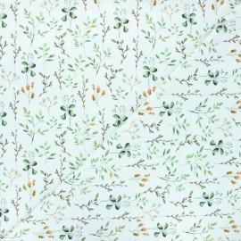 Tissu jersey Plantes sauvages - blanc x 10cm