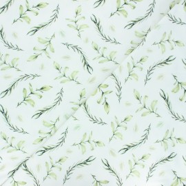 Printed jersey fabric - white Laurier x 10cm