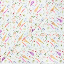 Printed jersey fabric - white Forest flowers x 10cm
