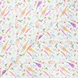 Tissu jersey Forest flowers - blanc x 10cm