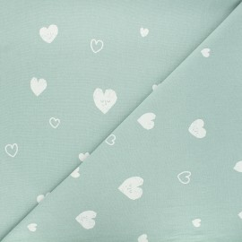 Washed cotton fabric - opaline Hearts x 10cm
