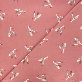 Tissu coton lavé Salinas birds - rose x 10cm