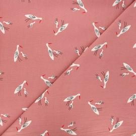 Washed cotton fabric - pink Salinas birds x 10cm
