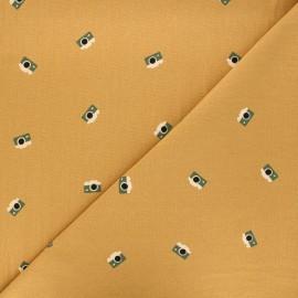 Tissu coton lavé Adventure - jaune moutarde x 10cm