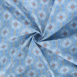 Tissu popeline de coton Horses flower - bleu x 10cm