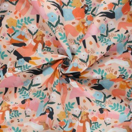 Poplin cotton fabric - peach Best friends x 10cm