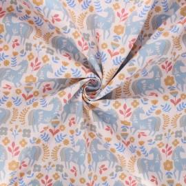 Poplin cotton fabric - pink Horses Countryside x 10cm