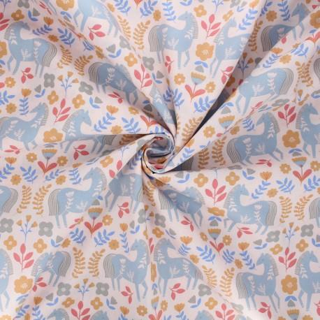 Tissu popeline de coton Horses Countryside - rose x 10cm