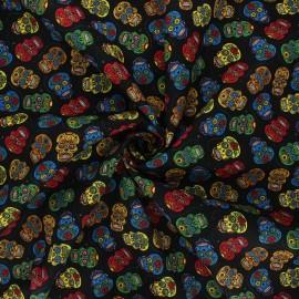 Poplin cotton fabric - black Floral skull x 10cm