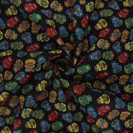 Tissu popeline de coton Floral skull - noir x 10cm