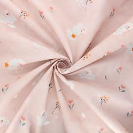 Poplin cotton fabric - pink Little rat and friends x 10cm