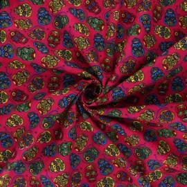 Tissu popeline de coton Floral skull - fuchsia x 10cm