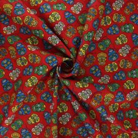 Poplin cotton fabric - red Floral skull x 10cm
