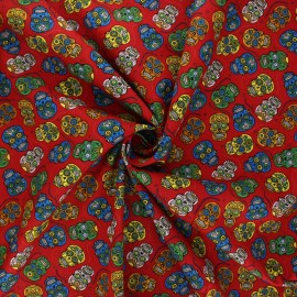 Tissu popeline de coton Floral skull - rouge x 10cm