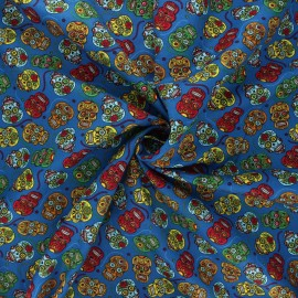 Poplin cotton fabric - blue Floral skull x 10cm