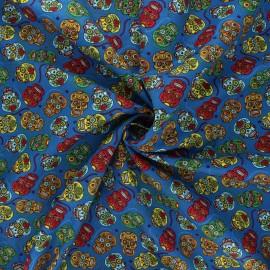 Tissu popeline de coton Floral skull - bleu x 10cm