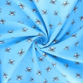 Poplin cotton fabric - sky blue Pirate skull x 10cm