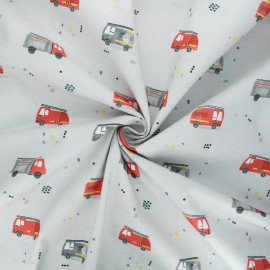 Poplin cotton fabric - grey Firefighters cars x 10cm