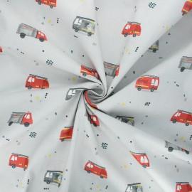 Tissu popeline de coton Firefighters cars - gris x 10cm