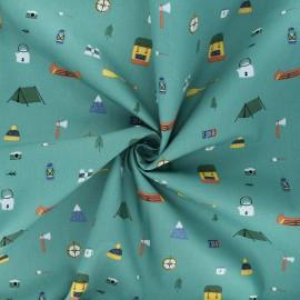 Tissu popeline de coton Adventure items - vert x 10cm