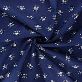 Poplin cotton fabric - navy blue Pirate skull x 10cm