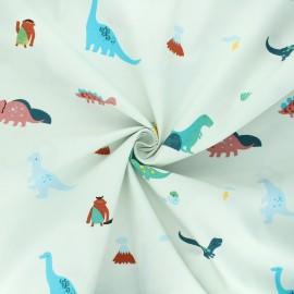 Tissu popeline de coton Time travelers - vert amande x 10cm