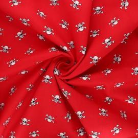 Tissu popeline de coton Pirate skull - rouge x 10cm