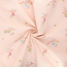 Tissu popeline de coton Tooth fairy - rose x 10cm