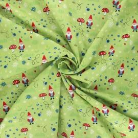 Poplin cotton fabric - light green Garden keeper x 10cm