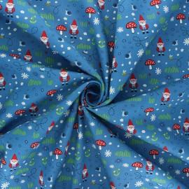 Tissu popeline de coton Garden keeper - bleu x 10cm