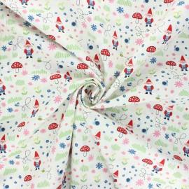 Poplin cotton fabric - white Garden keeper x 10cm