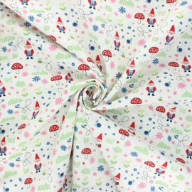 Tissu popeline de coton Garden keeper - blanc x 10cm